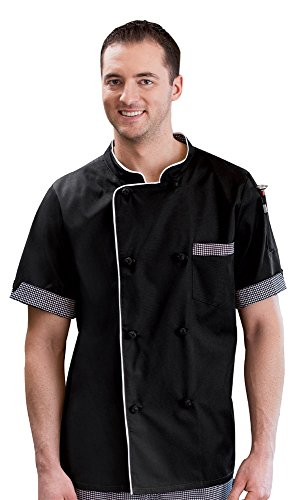 - Short Sleeve Executive Chef Coat Black L