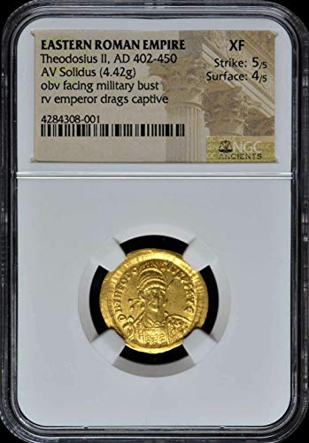 TR 402-450 AD Eastern Roman Empire, Byzantine Empire, Ancient Gold Coin Authenticated and Graded Solidus Extremely Fine NGC