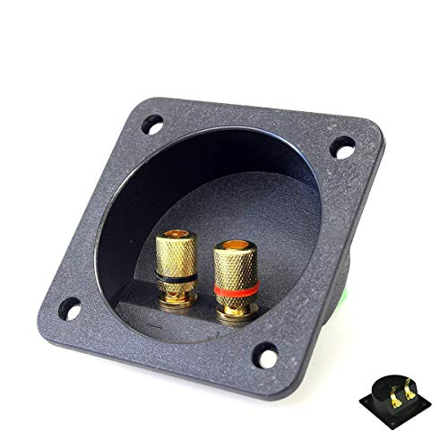 2 PCS 2 Way Speaker Box Terminal Binding Post Cup, 75mm DIY Home Car Stereo Screw Cup Connectors Subwoofer Plugs 50mm Cutting Size (Subwoofer Speaker Terminal)