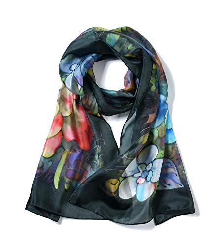 Invisible World Women's 100% Mulberry Silk Scarf Long Hand Painted Peonies Black (Hand Painted Silk Jackets)