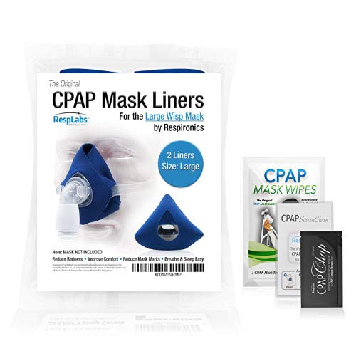 RespLabs CPAP Mask Liners Compatible with Respironics Wisp Masks — [2 Pack] Face Preserving Comfort Covers | Machine & Mask Supplies [Large Size]