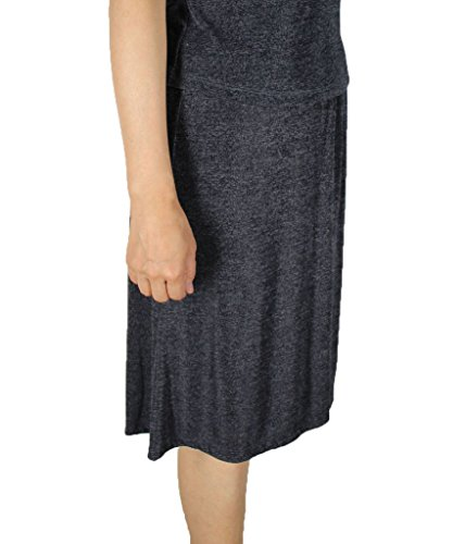 Calison Women's Stretch Spandex Slinky Short Solid Skirt Made in USA Grey 2X