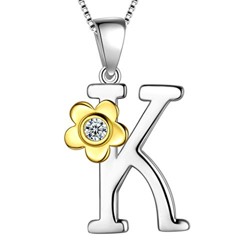 - Aurora Tears Initial Letter K Daisy Flower Necklace 925 Sterling Silver 18k Gold Plated Charm Alphabet Pendant Two-Tone Gold Plated Jewelry DP0141K