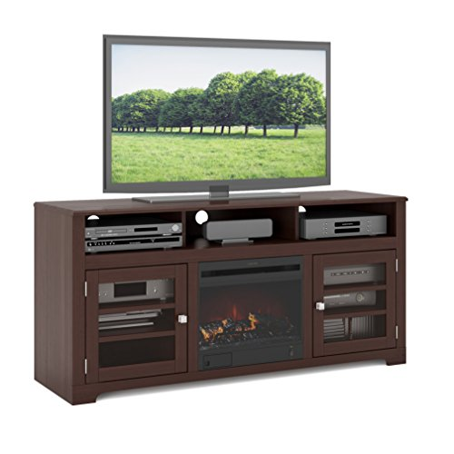 Sonax F-192-BWT West Lake 60-Inch Dark espresso stained wood Fireplace Bench (Espresso Fireplace Cabinet Electric)