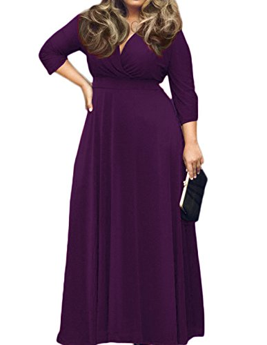 POSESHE Women's Solid V-Neck 3/4 Sleeve Plus Size Evening Party Maxi Dress (Jersey V-neck Dress)