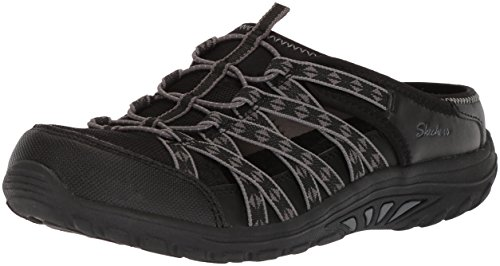 Skechers Women's Reggae Fest-Marlin-Fisherman Open Back Mule Relaxed Fit a/C Memory Foam Water Shoe, Black, 9 M US by Skechers