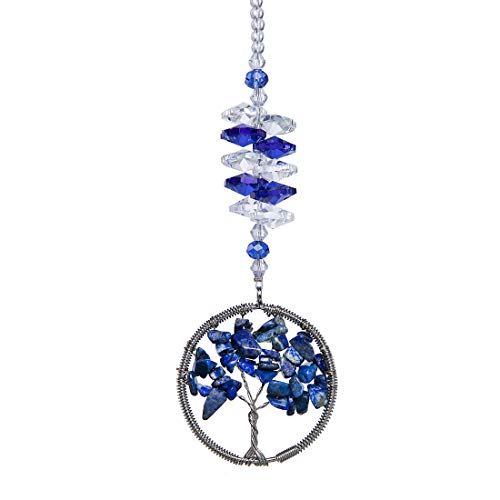 HampD Blue Crystal Sun Catcher Tree of Life Window Ornament