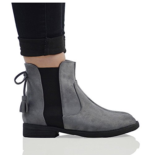 Suede Faux Ankle Biker Boots Essex Faux Womens Casual Suede Chelsea Elasticated Glam Grey qxwRZPgU7