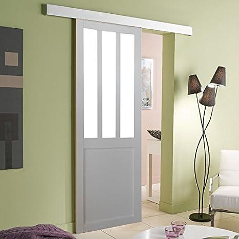 Puerta estilo taller blanca 204 x 63 + Rail: Amazon.es: Hogar
