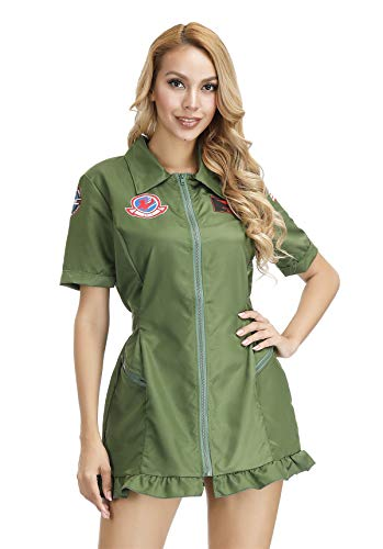 Famajia Women's Pilot Costume Aviator Flight Suit Adults 80s Movie US Military Flight Zipper Front Dress Costume Green Small]()