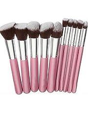 Kit Kabuki 10 Peças Pinceis Rosa Prata Maquiagem Sombra Base 14 cm