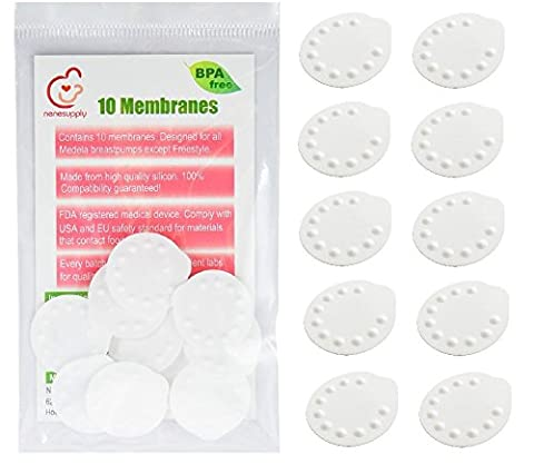 Nenesupply 10 Count Membranes for Medela Pump In Style, Medela Swing, Lactina, Symphony, Mini Electric, Harmony Breastpumps. Compatible with Medela Valve, Nenesupply Valve. Replace Medela Membrane. Can Be sterilized with Medela Quick Clean Micro-Steam Bag. (10 (Symphony Membrane)