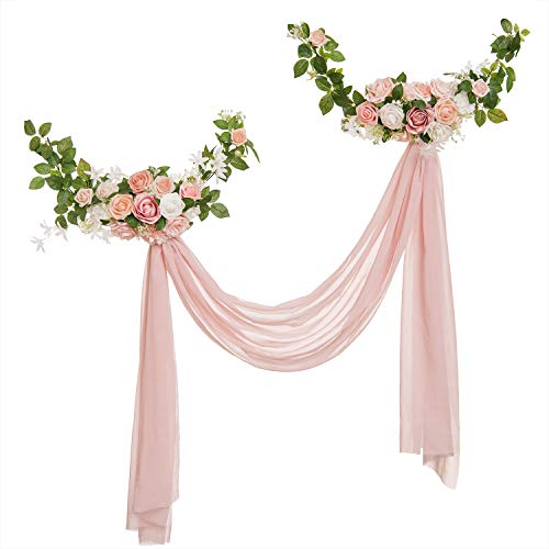 Ling's moment Dreamy Blush Style Artificial Rose Flower Swags and Garlands with Dusty Pink Sheer Swags (Pack of 2) for Wedding Arch Wall Door Decorations