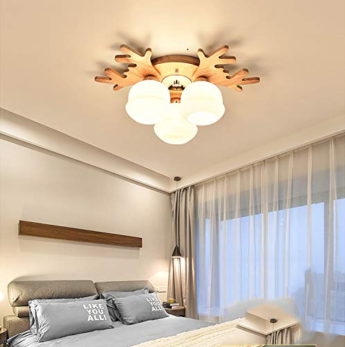 XQY Japanese-Style Dining Room Ceiling Lamp Bedroom Living Room Solid Wood Led Ceiling Lamp Children's Room Ceiling Lamp,Warm Light,3 Head