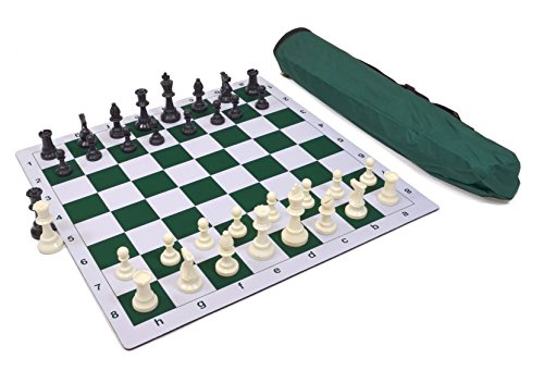 Wholesale Chess Triple Weighted Pieces and Mousepad Board Chess Set (Green) ()