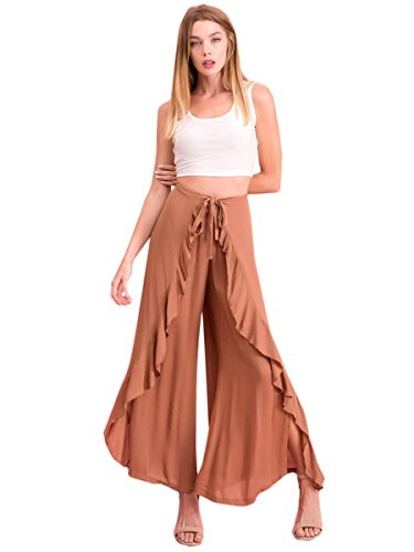 Nyteez Women's Wrap Around Pants Tie Front Wide Leg, Camel, S