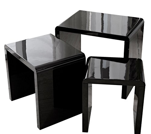 [LSCING Collection Stackable Glossy Finish 3-Piece End Table Side Nesting Table, Black] (Collection 3 Piece Nesting Table)