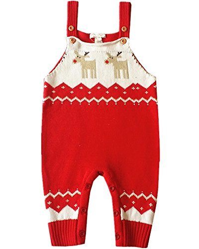(BESTERY Baby Shoulder Strap Romper Christmas Deer Jumper Knitted Sweater Best Gift (Age 18-24 months,)