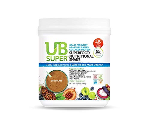 UB Super Grass Fed Whey & Collagen Protein - Meal Replacement - Superfood Nutritional Shake - rBGH Free, Gluten Free, Non GMO, No Soy (Chocolate, Whey/Collagen)