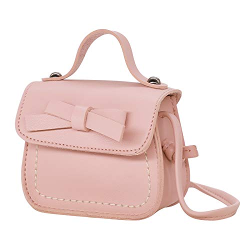 HDE Small Fashion Purse for Little Girls Light Pink Toddler Kids Bag Cute Bow (Pink)