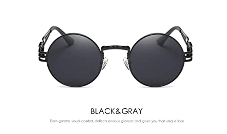 17268af761 Gothic Steampunk Sunglasses Men Metal Round Shades Male Clear Sun Glasses  For Women Hip Hop Steam
