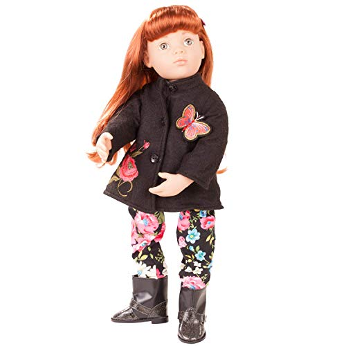 "Götz Happy Kidz Clara 19.5"" Multi-Jointed Posable Standing Doll with Red Hair to Wash & Style, Stone Grey Eyes, Butterfly Jacket, Flowered Pants and Glitter Boots"
