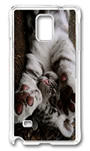 MOKSHOP Personalized Playful Tiger Cub Hard Case Protective Shell Cell Phone Cover For Samsung Galaxy Note 4 - PC Transparent