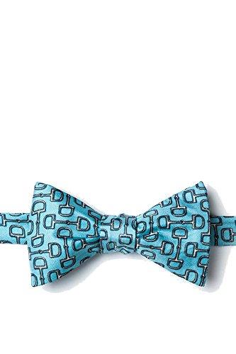 Neckwear Alynn Tie Silk (Men's 100% Silk Equestrian Horse Bit By Bit Butterfly Self Tie Bow Tie Neckwear (Light Blue))