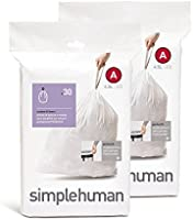 simplehuman CW0161 Code B Custom Fit 6L Trash Can Liners, 30/Box