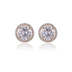 Women's Round Clear Crystal Diamond Studs