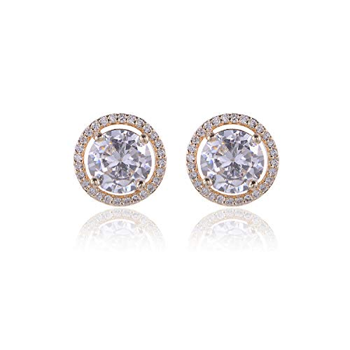 (CZ Stud Earrings Sterling Silver - 14k Gold Plated Big Round Swarovski Crystal Cubic Zirconia Rhinestone Diamond Halo Bridal Stud Earrings Bridesmaids Earrings Hypoallergenic 13mm Large Size)