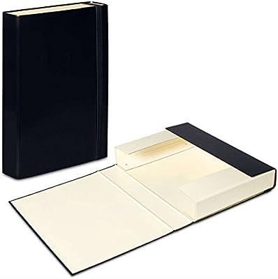 Black - Vanilla A4 Document Box Folder Elastic Band Storage Files Foolscap  Paper Hard Cardboard Organiser Duo Colours