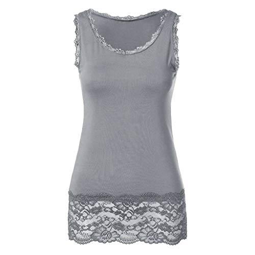 FACAIAFALO Women's Lace Panel Sleeveless Vest with Lace Trim Hem Embellished Beach Vest Top