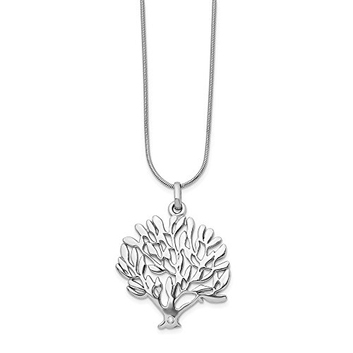 - 925 Sterling Silver Diamond Tree Pendant Chain Necklace Charm Leaf Fine Jewelry Gifts For Women For Her