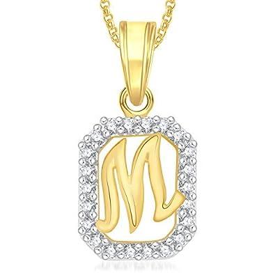 Meenaz gold plated m letter pendants alphabet pendant with chain meenaz gold plated m letter pendants alphabet pendant with chain necklace for men aloadofball Choice Image