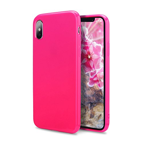 iPhone Xs Case, iPhone X Case, FGA Sugar Candy Cute Lightweight Shockproof Full Protective Slim Fit Solid Color Flexible Soft TPU Bumper Gel Case Cover for Apple iPhone Xs, iPhone X(Hot Pink) ¡­]()