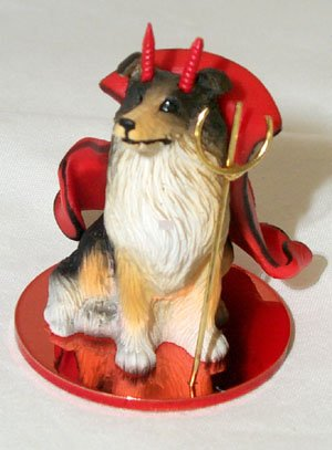 COLLIE DOG Tri Colored MINIATURE Devil Christmas Ornament New Resin FIGURINE DTD23B (Dog Ornament Collie Angel)