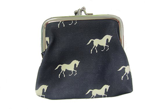 Miss Lulu Designer Oil Cloth Clasp Coin Purse (Horse Navy) from Miss Lulu