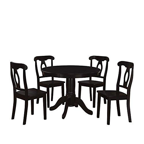 Dorel Living 5 Piece Aubrey Traditional Pedestal Height Dining Set Black