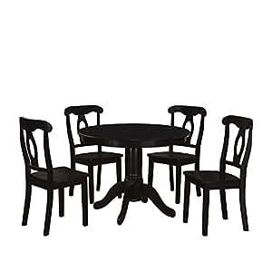 Dorel Living 5-Piece Aubrey Traditional Pedestal Height Dining Set, Black