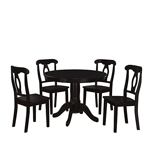 Dorel Living 5-Piece Aubrey Traditional Pedestal Height Dining Set, Black (Round Dining Room Tables Sets)