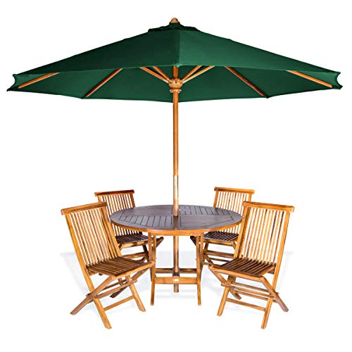All Things Cedar TT6P-R-G 6-Piece Teak Round Patio Table Folding Chair Set with Umbrella, Green