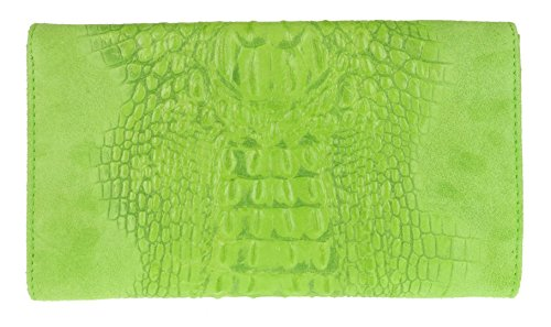 Clutch Girly Green Croc Leather Light Suede HandBags Italian Bag Fpptq