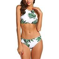 [Sponsored]Womens Forest Leaves Printing High Neck Halter Bikini Set Swimsuit
