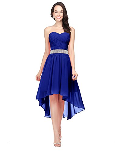 Sarahbridal Womens Hi-Low Prom Dresses Beaded Chiffon Cocktail Party Gowns Royal Blue US2