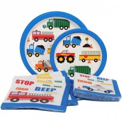Traffic Jam Birthday Party Supplies Kit Including Lunch Plates, Dessert Plates, Luncheon Napkins and Beverage Napkins for 16