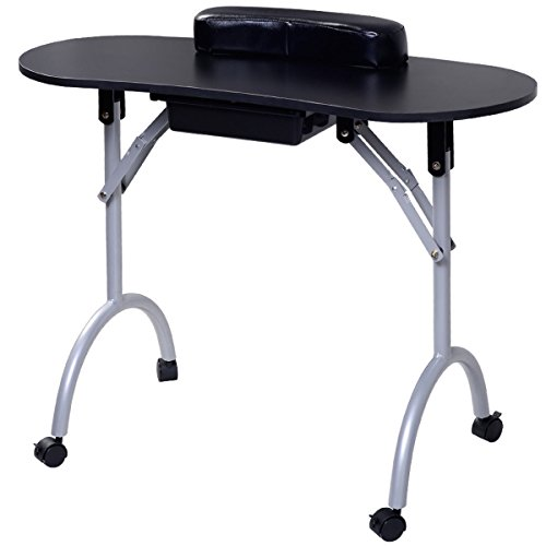 Giantex Portable Manicure Nail Table Station Desk Spa Beauty Salon Equipment (Black)