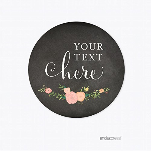 Andaz Press Chalkboard Floral Party Wedding Collection, Round Circle Label Stickers, Personalized Your Text Here, 40-Pack, Custom Name, Baby Bridal Shower Birthday Baptism Anniversary Decor Decoration -