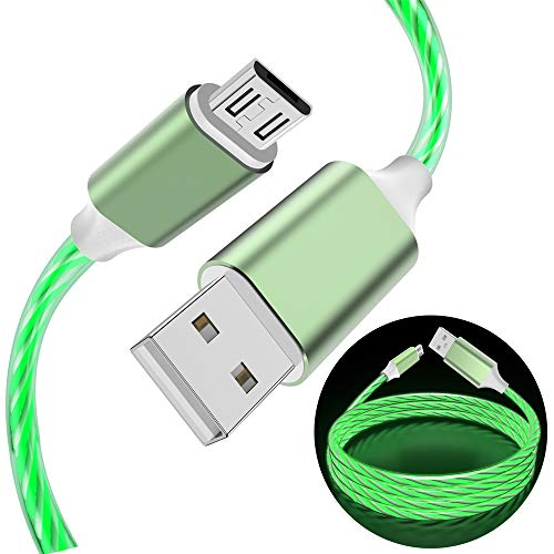 LED Charging Cable Android, Micro USB Visible Flowing Lighting Up Fast Charger Sync & Data Cord for Klndle Flre, Samsung Note 5 J7 Tablet, Honor 7X, HTC, Moto, Nokia and More Android Devices (Green)