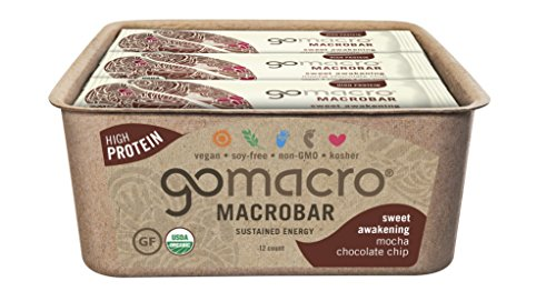 GoMacro Macrobar Organic Vegan Protein Bar, Mocha Chocolate Chip, 2.3 Ounce